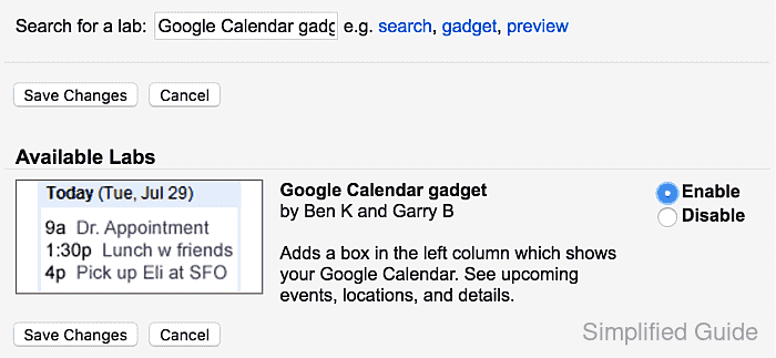 How to add Google Calendar gadget in Gmail