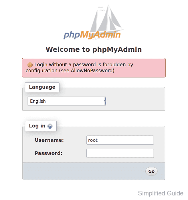 How to login without password in phpMyAdmin